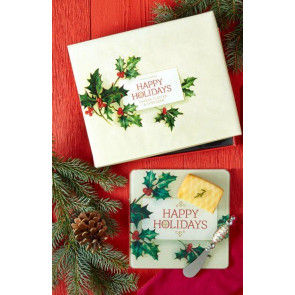 Happy Holidays 2 Piece Cheese Serving Set - Christmas Cheese Board Platter And Cheese Knife - Happy Holidays