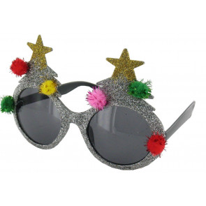 Novelty Christmas Tree Sunglasses Silver
