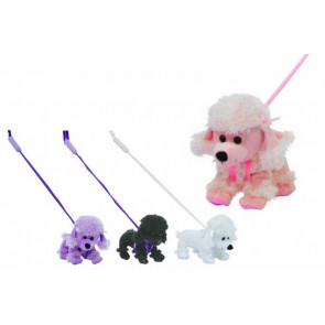 Its Girl Stuff Plush Dog Poodle On Stiff Lead Soft Toy For Children ~ Colour Vary