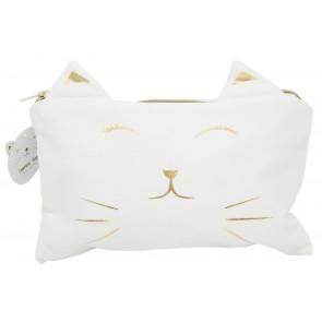 Cute Pussy Cat Face Cosmetic Bag - Makeup and Toiletries