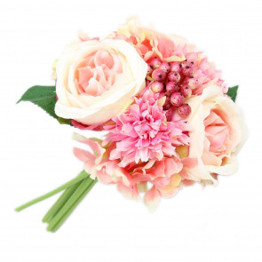 Decorative Artificial Floral Bunch Bridal Rose Hydrangea Flower Bouquet ~ Pink