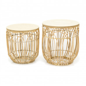 Set of 2 Round Willow Occasional Side Table | Rattan Coffee Tables With Storage | Wicker Living Room Side Tables | End Tables