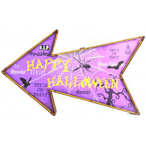 Light Up Battery Operated Hanging Metal LED Happy Halloween Sign Party Decoration
