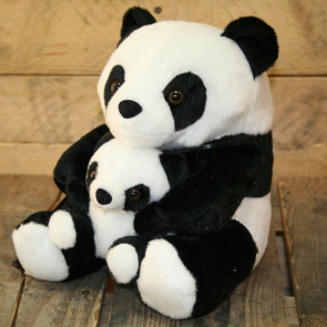 Adorable Black And White Panda Doorstop With Baby ~ Decorative Panda Door Stop