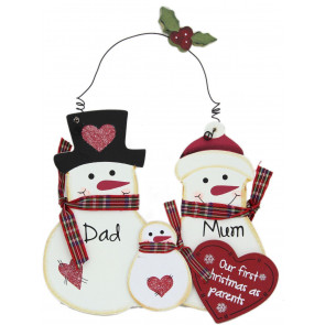 Hanging Wooden Snowman Sign 1st Christmas as Parents Plaque