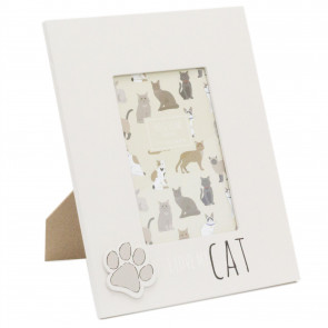 4 x 6 Photo Picture Frame For Cat Lovers | Pet Photo Frame With Quote | Paw Print Kitten Cat Frame - I Love My Cat