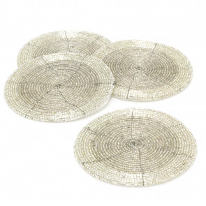 Set Of 4 Silver Glass Coasters | Chic Beaded Drinks Coaster Set | Round Cup Mug Glass Table Mats