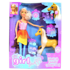 It's Girl Stuff Doll And Pony Playset