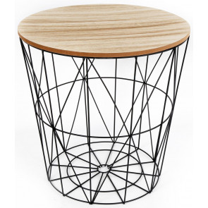 Round Wooden Top Geometric Wire Occasional Side Table