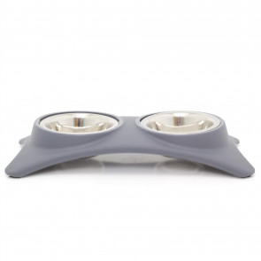 Grey Non Slip Double Pet Feeding Bowls | Feeding Station Stainless Steel Food Bowls | Cat Puppy Small Dogs Food Water Dish