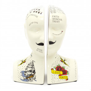 Novelty Ceramic Phrenology Bookends   Vintage Tattoo Head Book End Set   Statue Bust Book Stopper