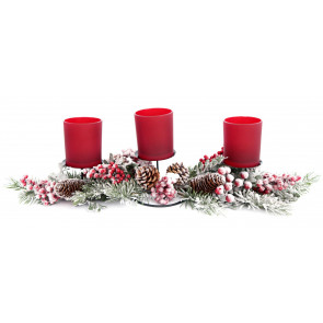 Handcrafted Wood And Metal Triple Christmas Tealight Candle Holder ~ Xmas Table Centrepiece