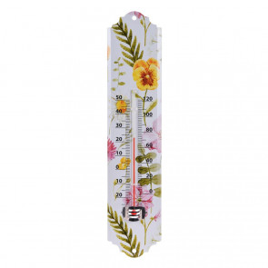 Floral Wall Mounted Metal Garden Thermometer | Waterproof Outdoor Temperature Gauge | Greenhouse Patio Thermometer - Design Varies One Supplied