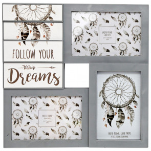 Wooden Dreamcatcher Multi Aperture Dream Catcher Quote Photo Picture Frame ~ Follow Your Dreams