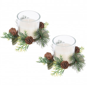 Christmas Wreath Double Tealight Decoration | Traditional Twin Xmas Candle Ornament Table Centrepiece | White Wax