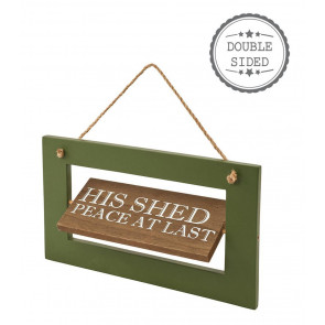 Novelty Wooden His Her Double Sided Shed Plaque Hanging Sign Decoration