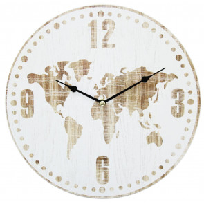 30 x 30cm World Map Print Round Decorative Wall Clock