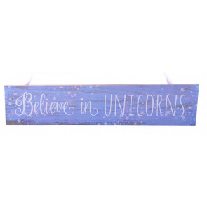 Wooden Unicorn Hanging Sign - Believe In Unicorns Plaque with Ribbon