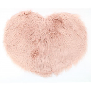 Gorgeous Faux Fur Heart Shaped Non Slip Mat ~ Living Room Bedroom Rug ~ Pink