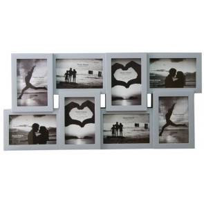 8 Multi Tonal Plastic Photo Frame ~ Light Grey