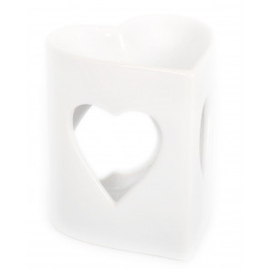 Ceramic White Heart Fragrance Oil Burner ~ Heart Incense Burner