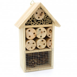 Wooden Insect Hotel - 25cm Wooden Insect House - Garden Bug Hotel Nesting Habitat for Bees, Butterflies, Ladybirds