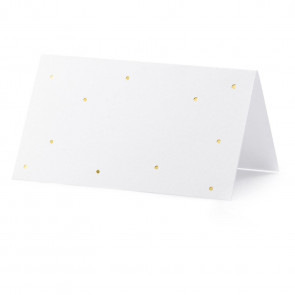 Pack Of 10 Gold Polka Wedding Place Cards | Wedding Table Name Cards | Small Tent Cards Place Name Cards