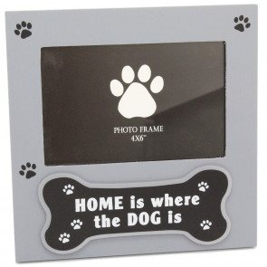 Delightful Grey Photo Picture Frame For Dog Lovers - Picture Frame With Quote 'Home Is Where The Dog Is'