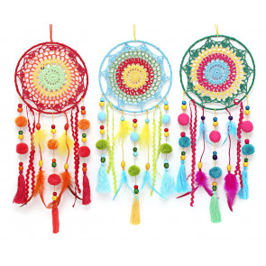 Colourful Llama Pom Pom Fabric Crochet Hanging Dream Catcher Decoration - Colour Varies