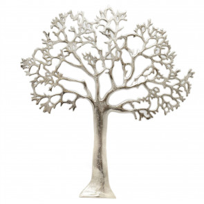 60cm Silver Metal Tree Of Life Wall Art | Wall Mounted Tree Art Plaque | Large Decorative Tree