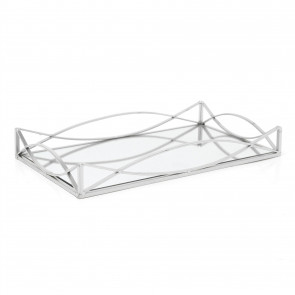 Art Deco Silver Mirrored Display Tray | Perfume Jewellery Cosmetic Organiser | Decorative Metal Double Vanity Dish 35cm