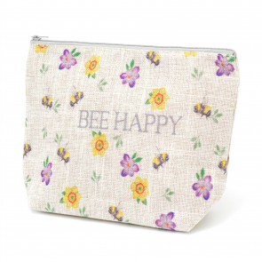 Bee Happy Floral Travel Cosmetic Makeup Bag | Toiletry Purse Holder Beauty Wash Bag Organiser Pouch | Bee Pencil Case Clutch Bag