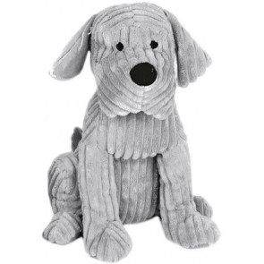 Take Me Home Door Stop - 28Cm Ribbed Grey Dog Doorstop