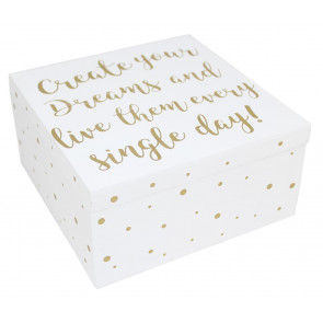 White Wooden Gold Keepsake Memory Trinket Box ~ Dreams