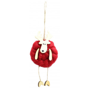 Woolly Reindeer Christmas Tree Hanging Decoration - Red