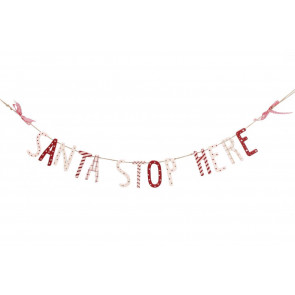 Santa Stop Here' Wooden Bunting Hanging Garland Christmas Decoration