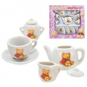 13 Piece Teddy Bear Picnic Mini Porcelain Tea Set ~ Cute Dolls Party Toy