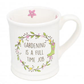 The Country Life Large White China Glazed Ceramic Gardeners Mug For Tea And Coffee ~ Gardening Is A Full Time Job