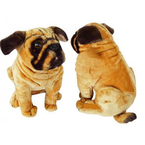 Pug Dog Brown Soft Plush Toy With Sound