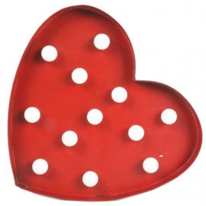 Gorgeous Retro Red Metal Led Hanging Heart Wall Light