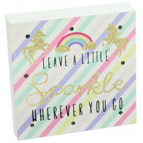 Glitter LED Light Up Unicorn Block Wall Plaque Art ~ Leave A Little Sparkle