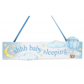Baby Sleeping Hanging Decorative Wall Plaque Nursery Bedroom Door Sign - Blue