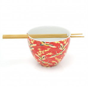 Ceramic Oriental Chinese Dinner Japanese Dining Bowl And Bamboo Chopstick Set - Red