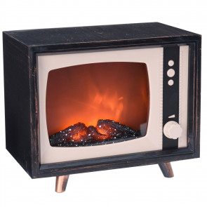 Retro Television LED Fireplace | Novelty Light Vintage Tv | Battery Operated Flame Effect Fire With Dimmer - 18cm