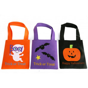 Pack of 3 Felt Halloween Trick Or Treat Bags For Candy Sweets ~ Designs Vary