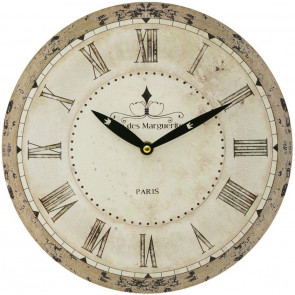 French Word 28Cm Wall Clock - Cafe De Marguerites