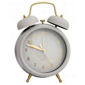 Large Retro Style Matt Metal Traditional Twin Bell Alarm Clock ~ Grey