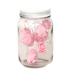 Stunning Led Lights & Roses Decorative Glass Mason Jar - Pink