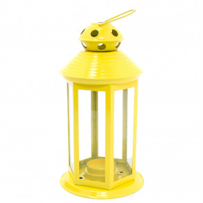 Colourful Neon Festival Party Garden Metal Tealight Lantern 25cm - Large Votive Tea Light Candle Holder ~ Yellow
