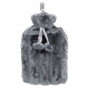 Deluxe Faux Fur Pom Pom Hot Water Bottle | Hot Water Bottle With Cover | Natural Rubber Hot Water Bottles - Colour Varies One Supplied